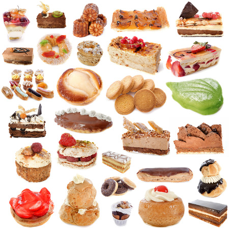 mille: group of cakes in front of white background Stock Photo