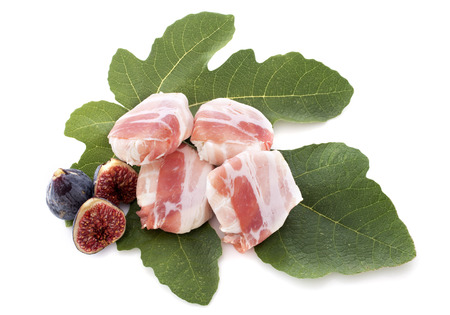 goat cheese, bacon and fig in front of white background Stock Photo - 23580182