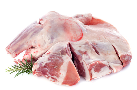 shoulder of lamb in front of white background