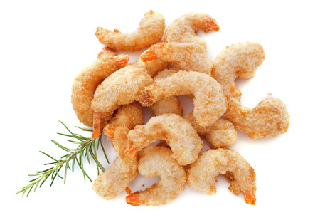 tempura shrimps and lime in front of white background Stock Photo - 23637055