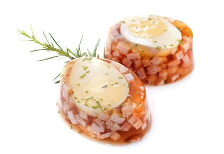 aspic of egg in front of white background Stock Photo - 23637064