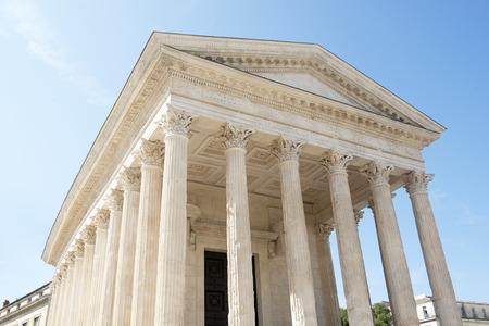 buliding: Roman Temple Maison Carree in Nimes, France.  Stock Photo