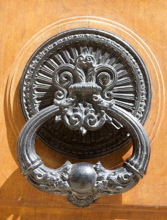knocker: detail of door knocker on a building exterior Stock Photo