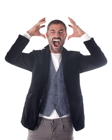 man screaming: angry man in front of white background
