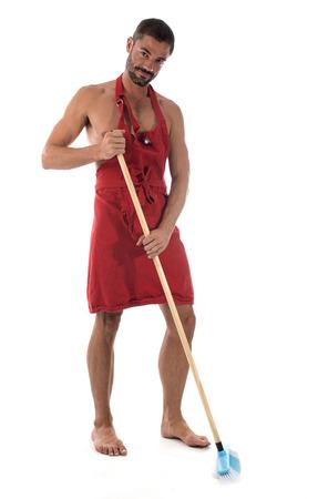 man met het reinigen van apparatuur voor witte achtergrond Stockfoto