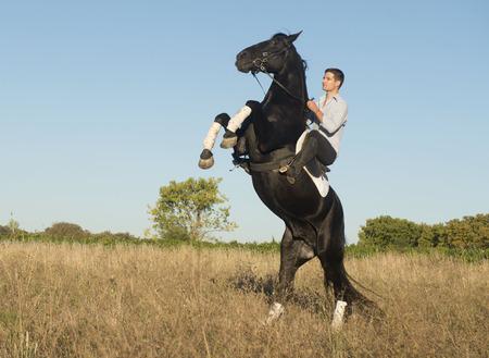 junger Mann reitet auf einem schwarzen Hengst in der Natur