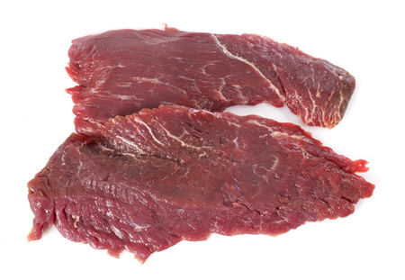 raw steak: Flank steak in front of white background