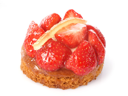 tartlet: strawberry tart in front of white background