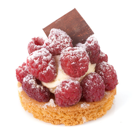 tartlet: raspberry tartlet in front of white background