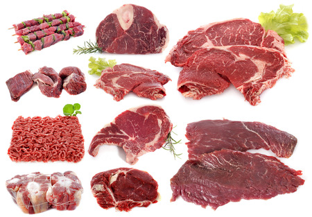 beefburger: beef meat in front of white background Stock Photo