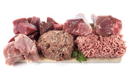 白い背景の前で肉のグループ 写真素材