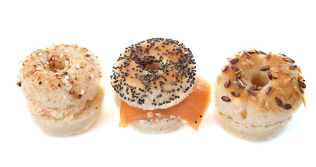 aperitive: aperitive bagel in front of white background