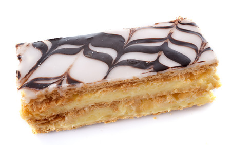 mille: Mille Feuille or Napolean pastry in front of white background