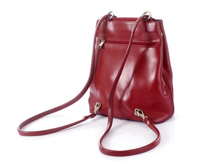 shoulder bag: leather handbag in front of white background Stock Photo