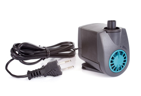 tank fish: water pump in front of white background