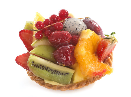 tartlet: fruits tartlet in front of white background Stock Photo