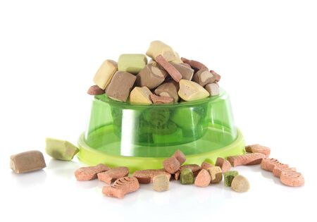 pet food: dry pet food in front of white background