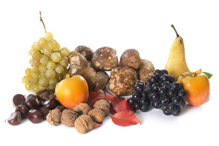grapes and mushrooms: autumn fruits in front of white background