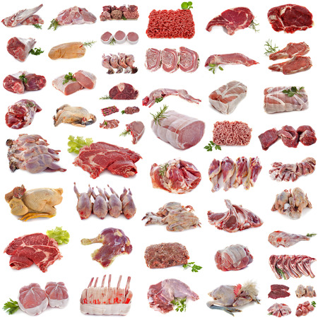group of meat in front of white background Standard-Bild