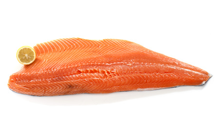 fillets: large salmon fillet in front of white background