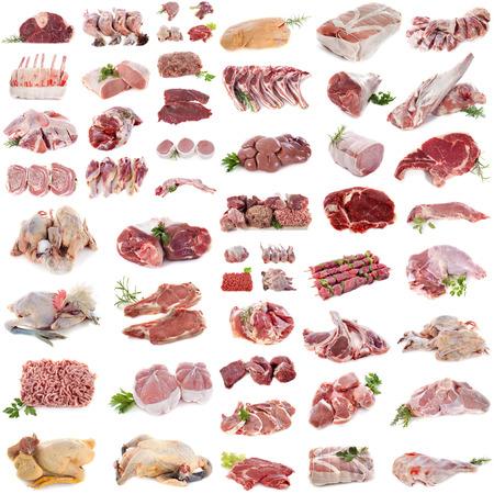 collo: gruppo di carne di fronte a sfondo bianco Archivio Fotografico