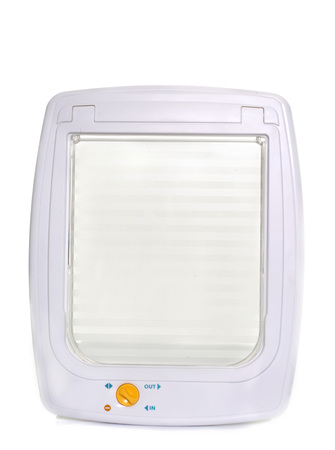 flap: white cat door in front of white background