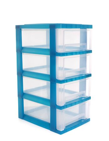 plastic box: locker for screws and bolts in front of white background