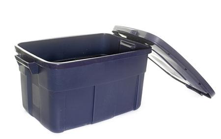 storage bin: plastic box in front of white background