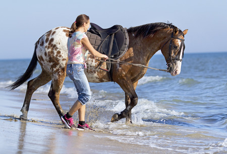 appaloosa: horsewoman and her horse on the beach