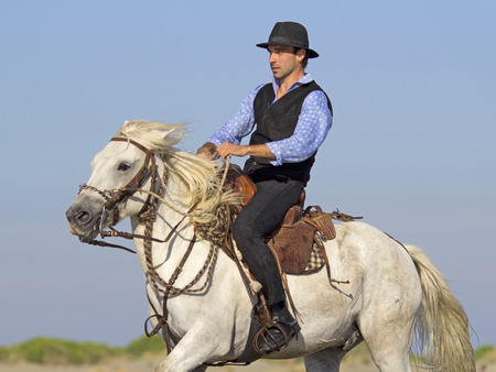 herdsman: herdsman galloping on the beach whit his Camargue horse