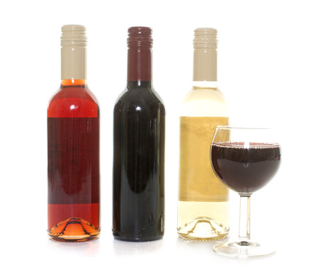 oenology: bottle of wine in front of white background Stock Photo