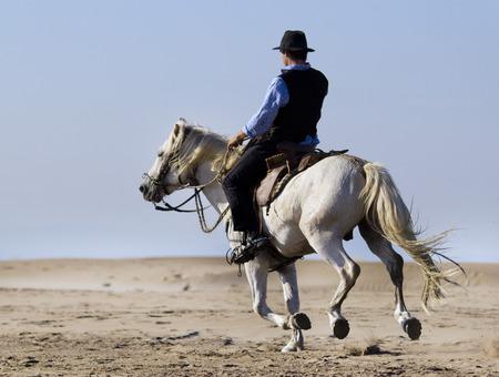 horsemann and her horse on the beach Stock Photo