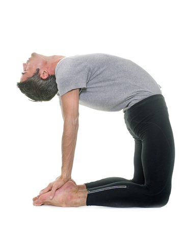 agility people: yoga man in front of white background