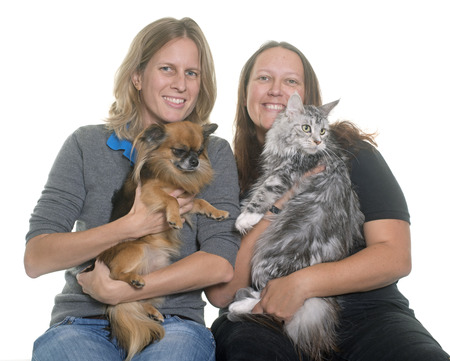 two stroke: women and pet in front of white background Stock Photo