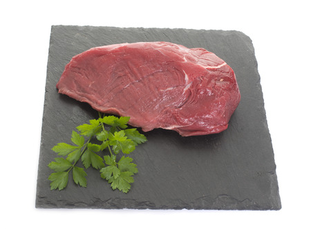 side of beef: side of beef in front of white background