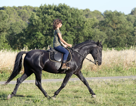 galloping: young riding girl and her black stallion in the nature