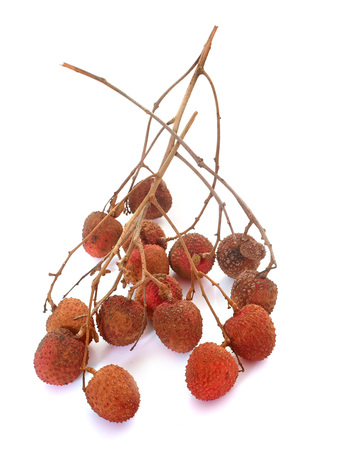 branch of lychees in front of white background