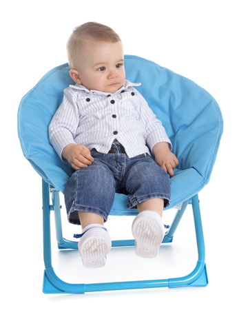 human baby in front of white background
