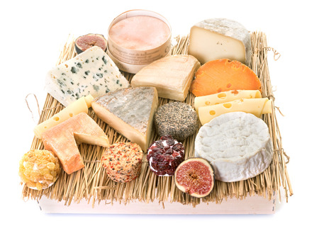 group of cheese in front of white background