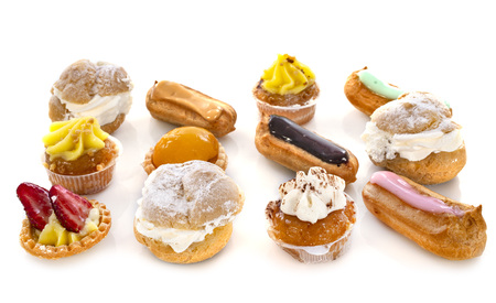 colorful mini-pastry in front of white background