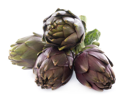 group of purple artichoke in front of white background