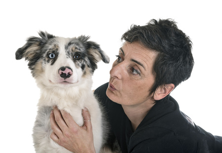 puppy border collie and woman in front of white background