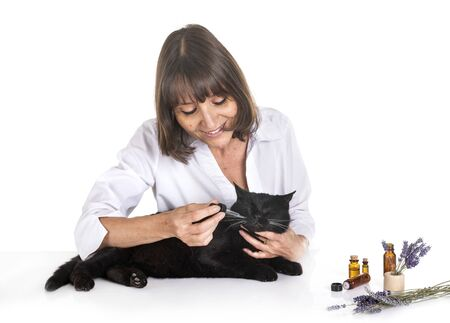 alternative medicine for pet in front of white background