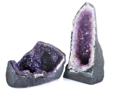 purple amethyst in front of white background