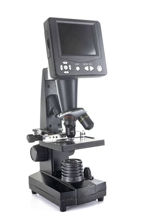 black microscope in front of white background