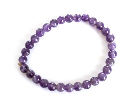 amethyst bracelet in front of white background
