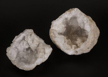 white quartz in front of black background Banco de Imagens