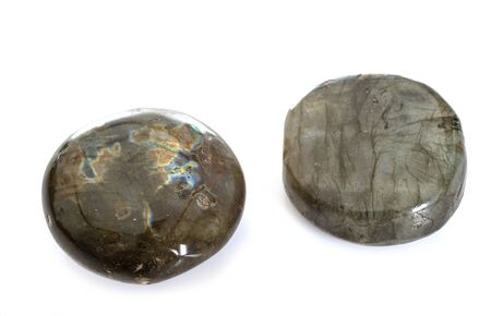 polished labradorite in front of white background