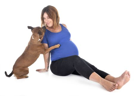 pregnant woman and dog in front of white background