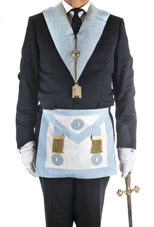 fremason with accessories in front of white background